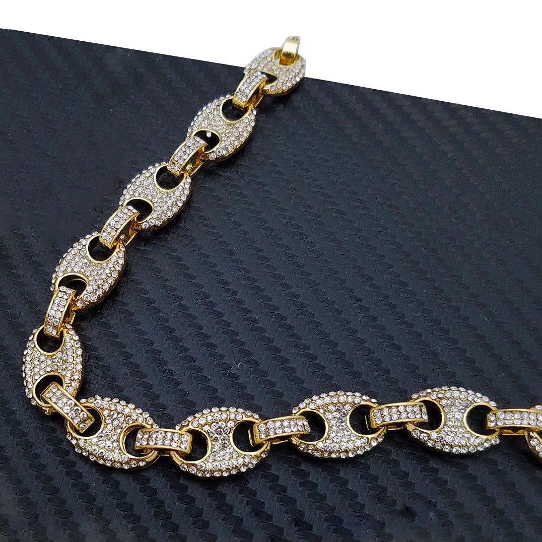 BLINGFACTORY Hip HOP Luxury Full ICED LAB Diamonds 18 Marina Link Choker Chain Necklace