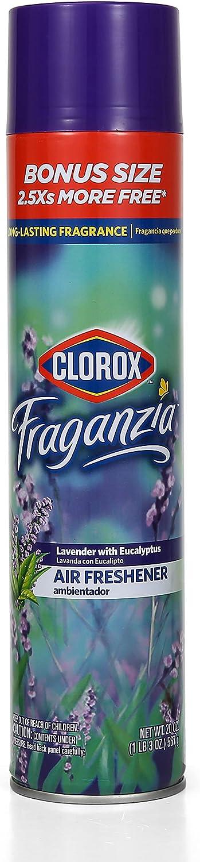 Clorox Fraganzia Aerosol Air Freshener in Lavender with Eucalyptus Scent | Long-Lasting Air Freshener Spray | 20 Oz Bonus Size | Room Air Freshener