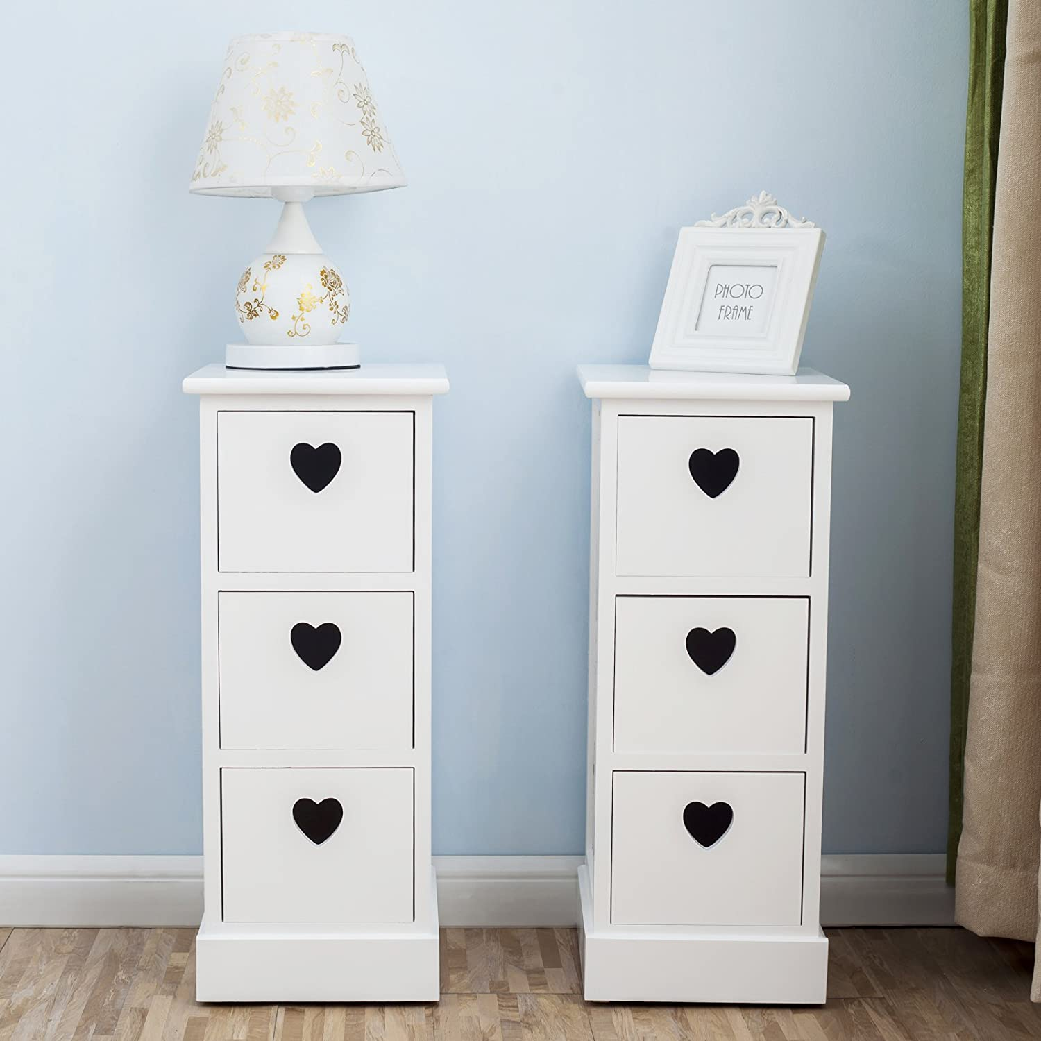 Well-known UEnjoy Shabby Chic White Wooden Bedside Cabinet Table Nitghtstands  PQ65