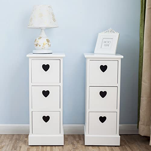 Mecor Shabby Chic White Wooden Bedside Cabinet Table Nitghtstands Set Of 2 Storage  Drawer Cupboard,
