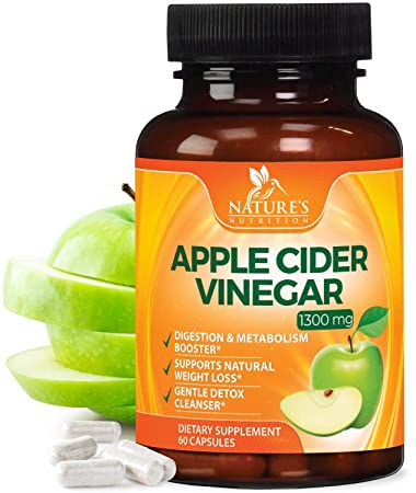 Amazon Com Pure Apple Cider Vinegar Capsules For Weight Loss 1300mg