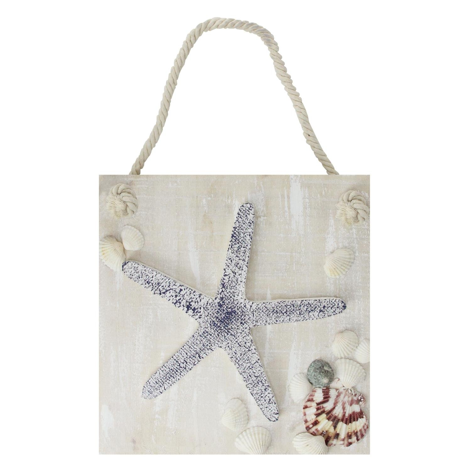 """Northlight 10"""" Cape Cod Inspired Starfish Wall Hanging Plaque with Seashells"""