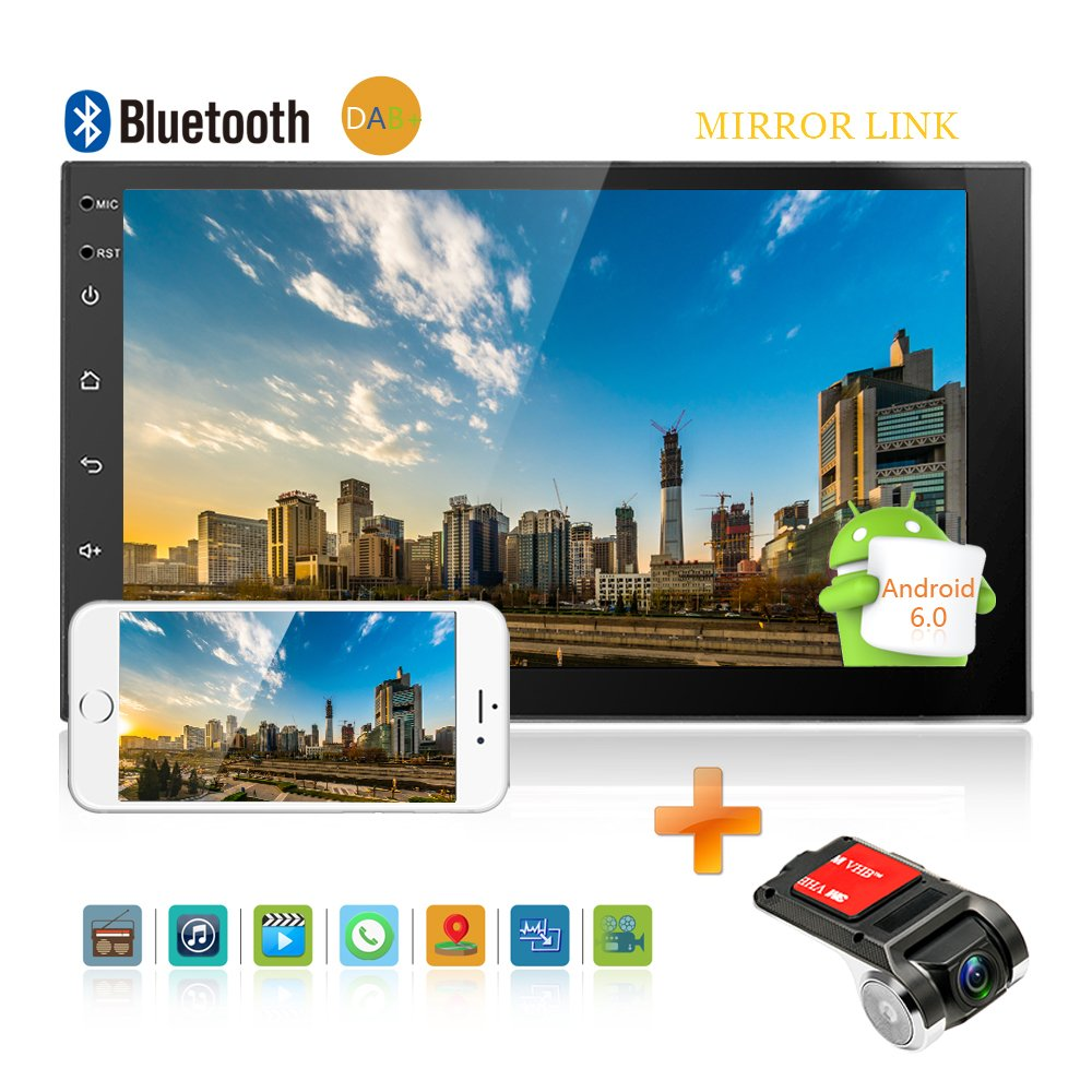 2 DIN Android Car Player Camecho Bluetooth Universal GPS Dab + Radio GPS Reproductor de Audio esté reo Mirror Link Car Backup Monitor DVR Dual USB con grabadora de conducció n