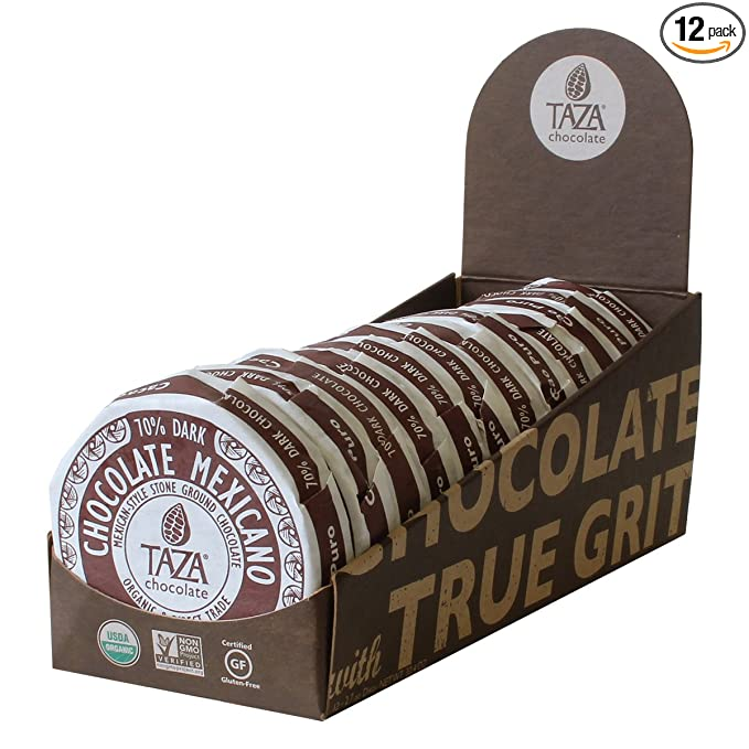 Taza Chocolate Organic Mexicano Disc 70% Dark Chocolate, Cacao Puro, 2.7 Ounce (12 Count), Vegan