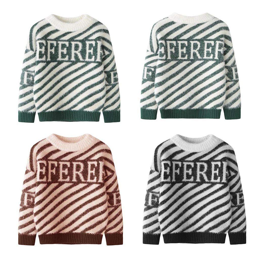 Knit Baby Sweater Waymine Kids Girl Boy Long Sleeve Letter REFEREFE Stripe Pullover Tops 2-7T