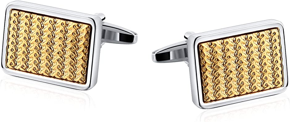KnSam Gemelos Camisa Hombre Gemelos de Patrón de Cruz Rectangular Gemelo Acero Inoxidable,Oro Plata: Amazon.es: Joyería