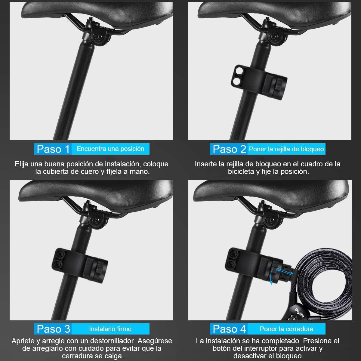 Candado Bicicleta,[Reforzar La VersióN] [1.5m x10mm]Diyife Antirrobo Bicicleta 4 Dígitos Combinación de Impermeable Bicicleta Candado para Bicicletas ...