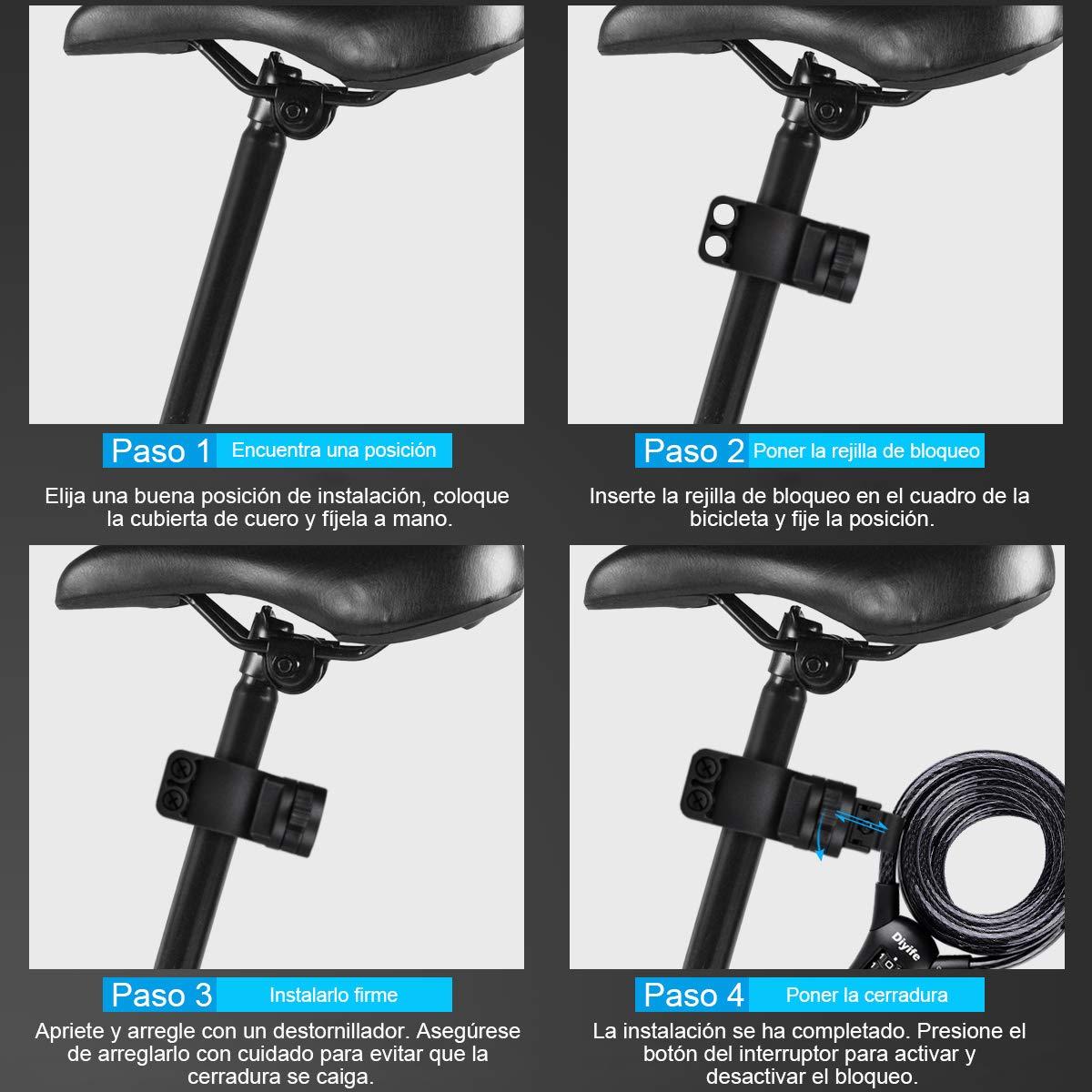 Bloqueo De Cable De Combinaci/óN De 4 D/íGitos Que Se Puede Reiniciar Mejor Para Bicicletas Reforzar La Versi/óN 1.5m x10mm Diyife Cerradura De Cadena De Servicio Pesado Candado De Bicicleta