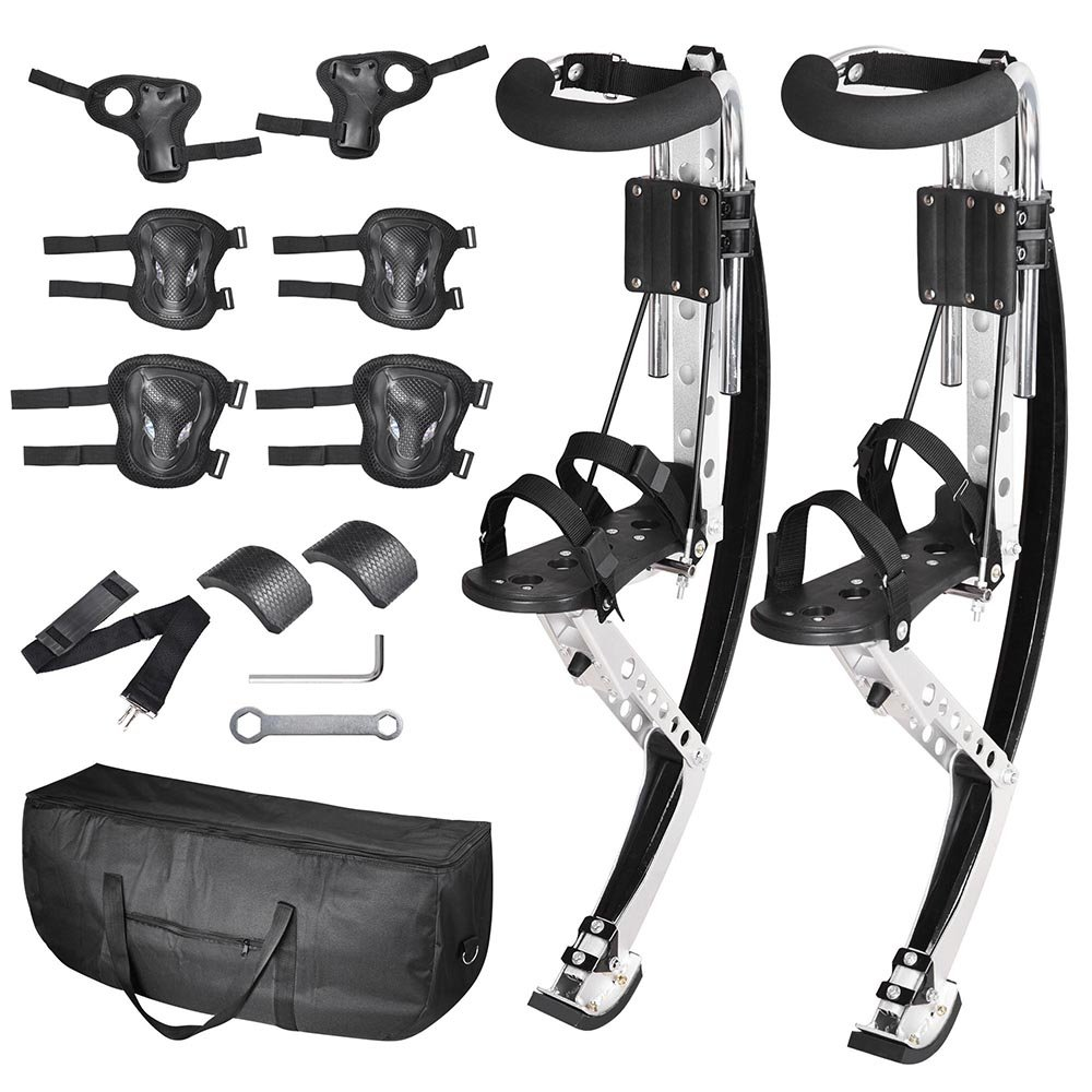 AW Adult Jumping Stilts Kangaroo Shoes Fitness Exercise 154-198 lbs (70-90 kg) with Knee/Elbow/Wrist Pads Carry Bag