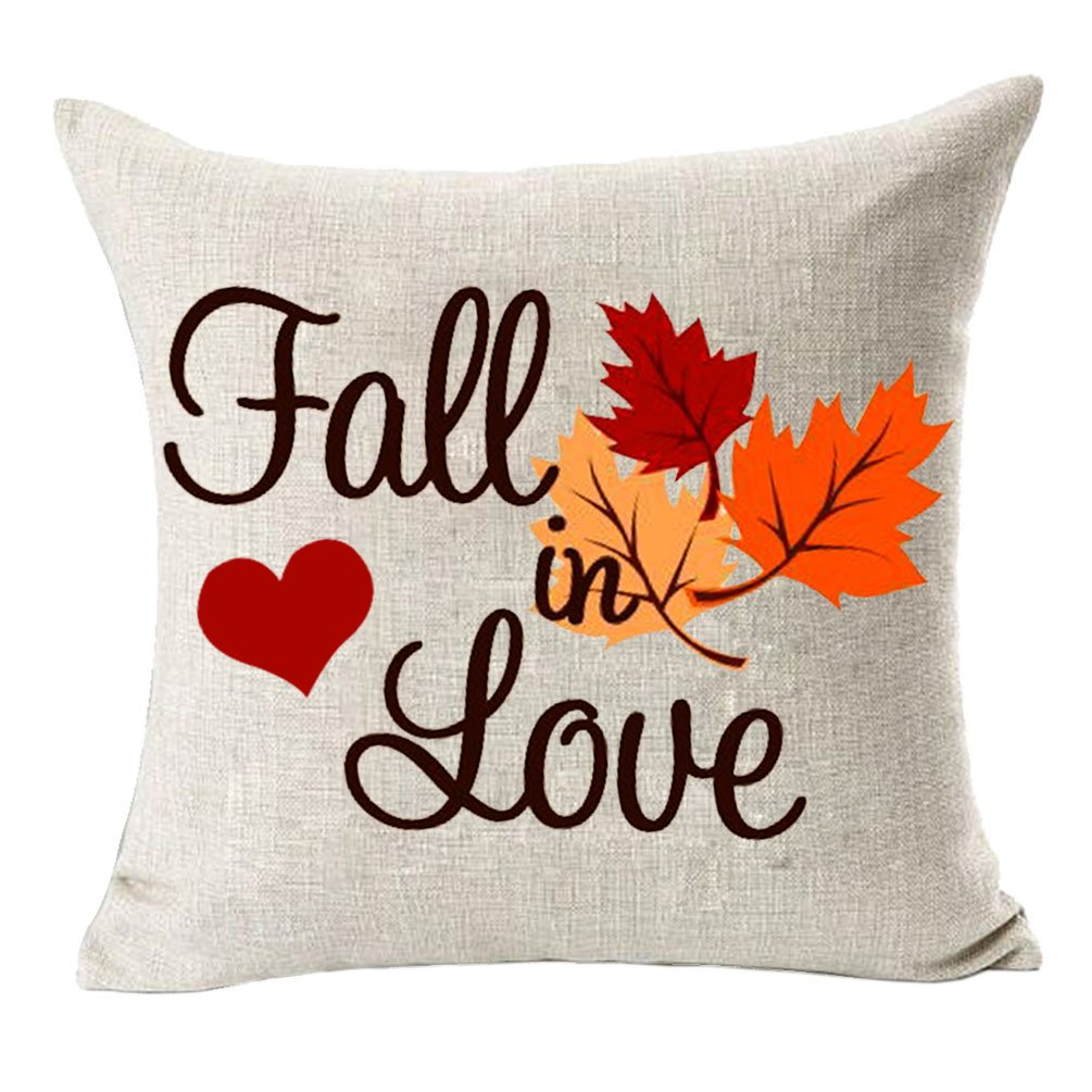 MFGNEH Home Decor Fall in Love Cotton Linen Pillow Covers 20x20, Fall Decor Maple Leaves Throw Pillow Case Cushion Cover for Sofa