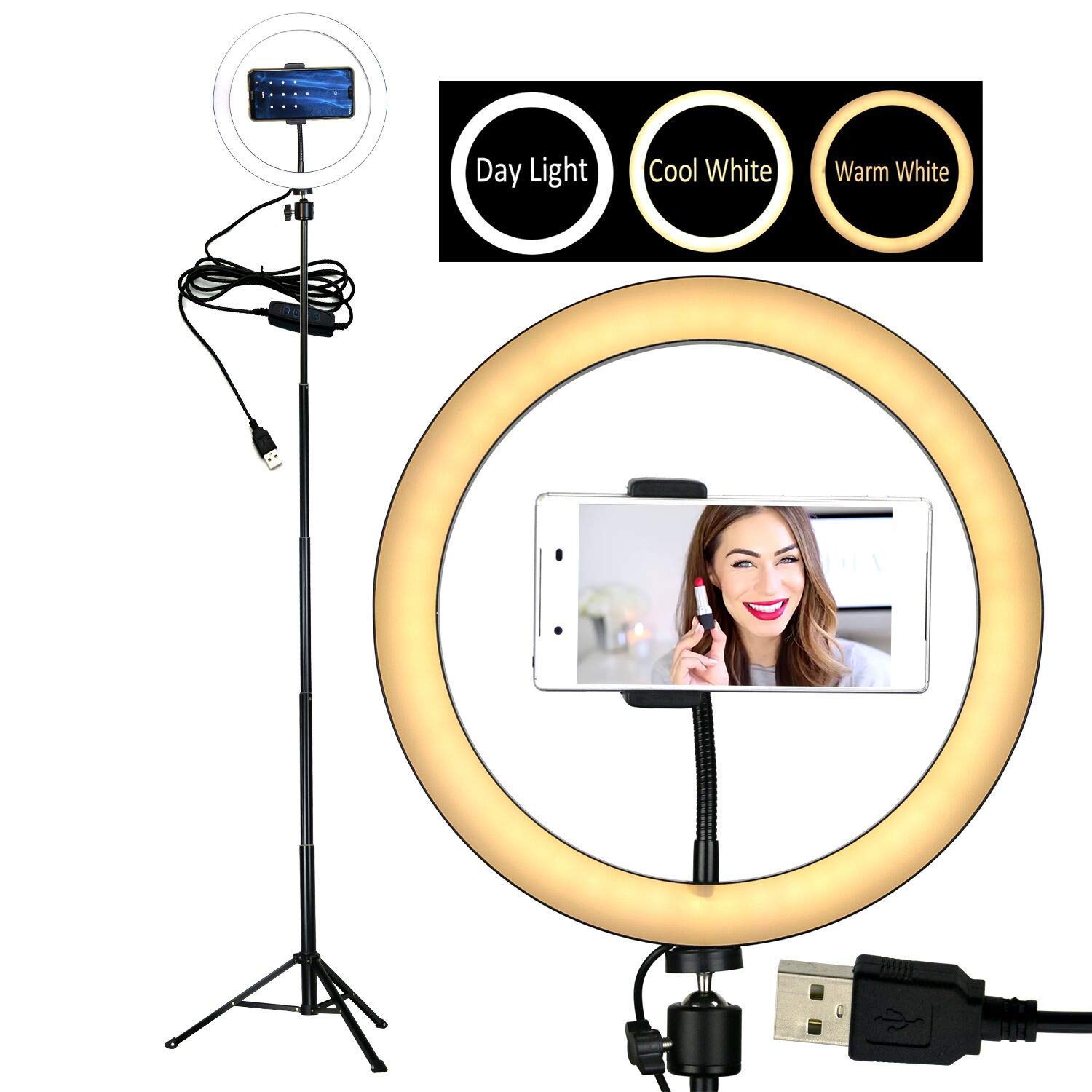 10'' Selfie Ring Light with Tripod Stand &Cell Phone Holder Desktop Lamp Mini Led Camera Light for YouTube Video and Live Makeup/Photography by Coospider