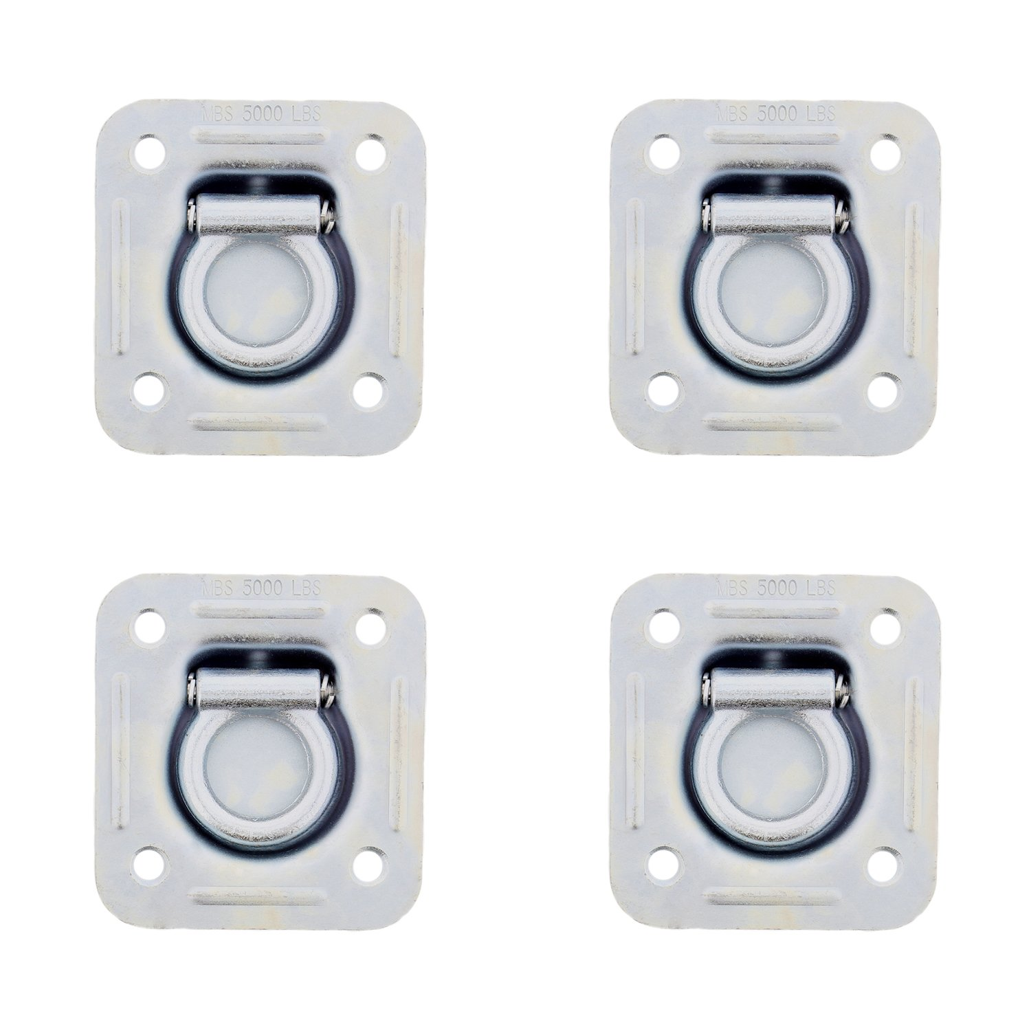 PeakTow PTJ0321 Cargo Trailer Recessed 6000 Lbs Capacity Tie-Down Pan D Rings Including Mounting Lock Plate and Installation Hardware Pack of 4
