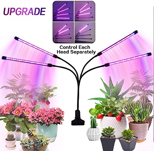 Grow Light for Indoor Plant, COPACHI LED Grow Light, Upgraded Version 4 Head 80 LED Lamps with Full Spectrum, 4 8 12H Timer, 10 Dimmable Level, One Button Singly Control Each Head