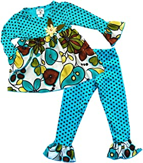 product image for Cheeky Banana Little Girls Babydoll Tunic Top & Ruffle Leggings - Teal & Brown