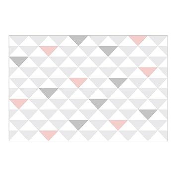 Vliestapete Keine Yk65 Dreiecke Grau Weiss Rosa Wandbild Breit
