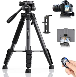 KINGJUE 67 inch Camera Tripod for Canon Nikon Lightweight Aluminum Travel DSLR Camera Stand with Carry Bag Universal Phone Mount and Wireless Remote Max Load 5kg