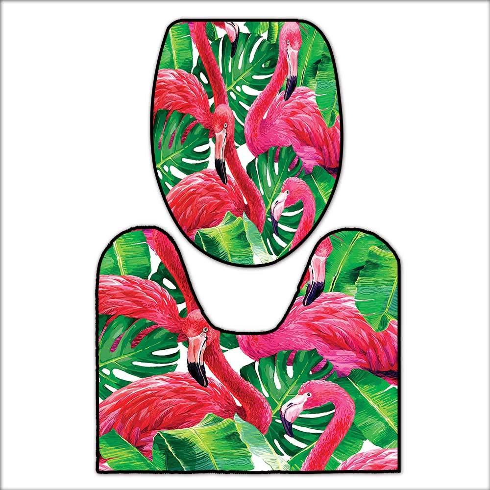 Qianhehome Printed Bath Rug Set Elegant Flamingos Sitting On Macro Tropic  Exotic Leaves Graphic In Retro Style Art Pink Green. 3D Digital Printing Rug  Set ...