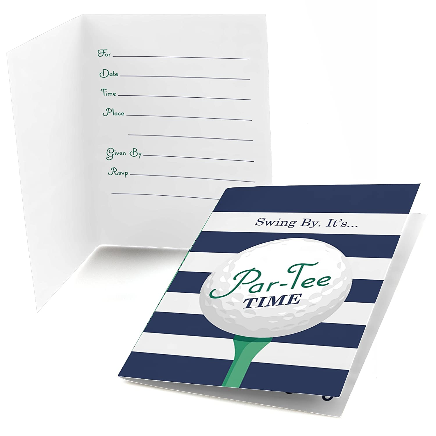 Big Dot of Happiness Par Tee Time Golf Fill in Birthday or Retirement Party Invitations 8 Count
