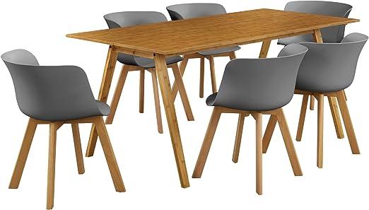 en.casa] Mesa de Comedor con 6 sillas - bambú/Gris 180x80 -Mesa de ...