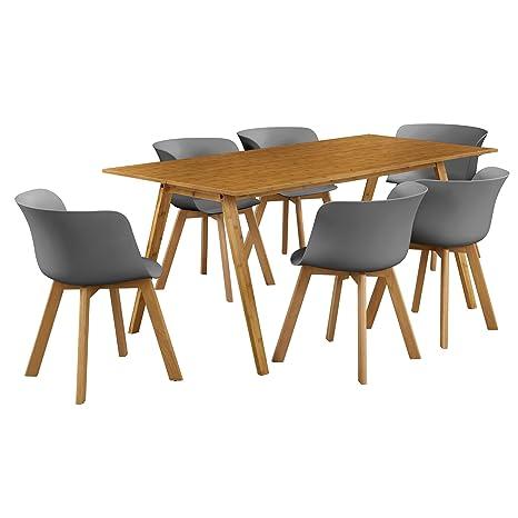 en.casa]® Esstisch mit 6 Stühlen Bambus/grau 180x80 ...