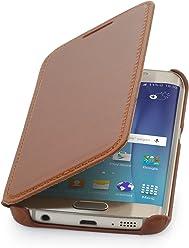 StilGut Housse pour Samsung Galaxy S6 Edge en Cuir véritable à Ouverture latérale, Cognac