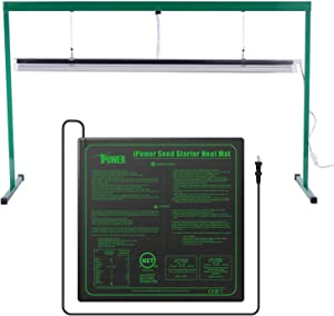 """iPower GLSTNDT54FHTMTM 54W 4 Feet T5 Fluorescent Grow Light Stand Rack(6400K) and 20"""" x 20"""" Hydroponic Seedling Heat Mat Combo Set for Seed Germination, M, Green"""