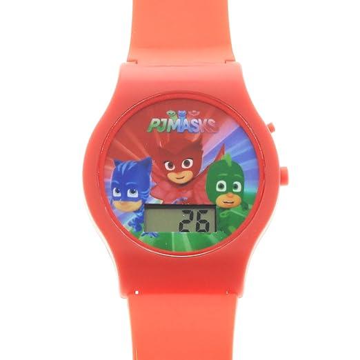 PJ Masks Boys LCD Wrist Watch Digital Style Adjustable Strap - Red