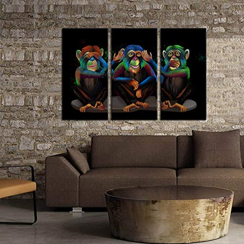 Kreative Arts 3 Panel Animals Canvas Print Wall Art See Hear Speak No Evil Monkeys Wall Art Modern Gorilla Poster and Prints Walls Painting Decorative Art Work
