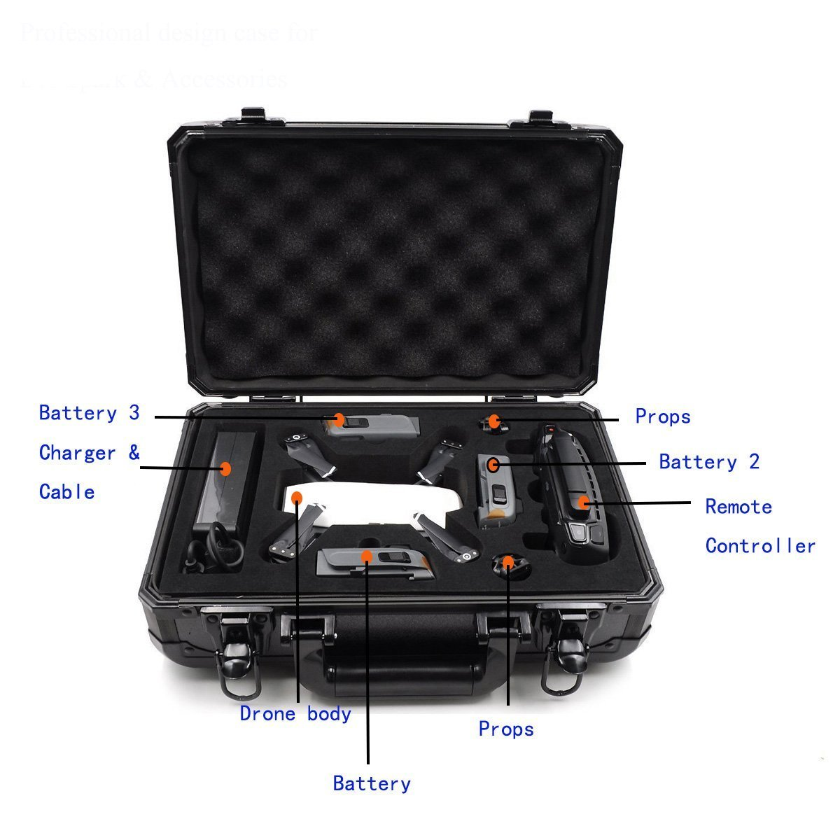 Hobby-Ace DJI Spark Drone Carrying Case by Travel Storage Case Bag fit for Spark Accessories Remote Controller and 3 Batteries,Propellers,Battery Charger and other accessories by Snotra Shop (Image #2)