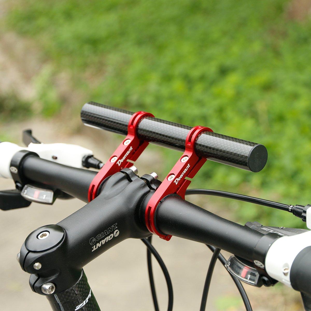 DEEMOUNT Bike Handlebar Extension Rack 202mm Bicycle Double Clamp Bracket Carbon Fiber Extender Accessories Flashlight Lamp Phone Mount Bracket Stand Holder Space Saver - Red by DEEMOUNT (Image #4)