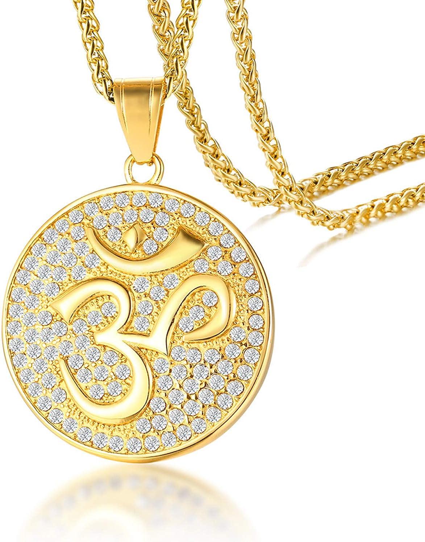 Cupimatch Gold Plated Cz Om Aum Ohm Symbol Pendant Necklace Chain Mens Stainless Steel Buddha Yoga Round Medallion Charm Pendant Necklace Jewelry 24 Amazon Com