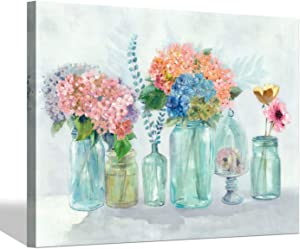 Blooming Flower Wall Art Painting: Bouquet Picture Floral Canvas Artworks for Bathroom (24'' x 18'' x 1 Panel)