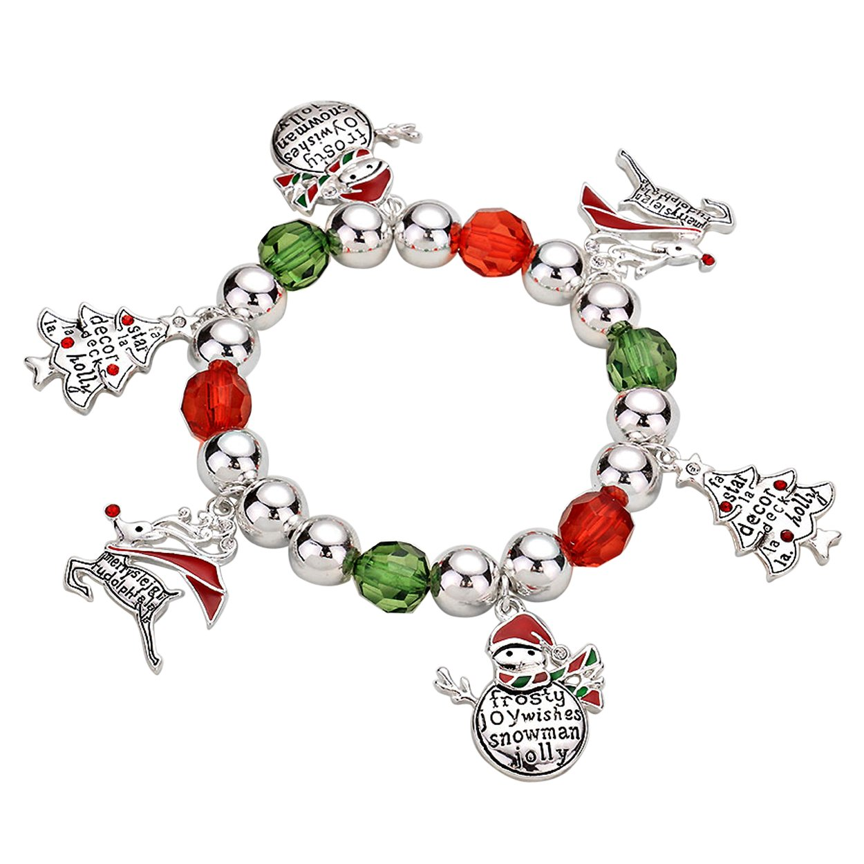 Inspirational Winter Holiday Christmas Bangle Bracelet Silver Tone with Green and Red Accents Rosemarie Collections SW-4800-2XXX