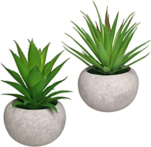 Mini Artificial Succulent Plants 2 Pack Fake Succulent Plants Potted Faux Green Grass Aloe with Pots for House, Farmhouse, Bathroom, Office, Home Decor