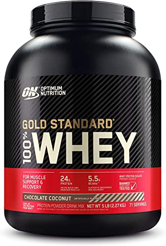 Optimum Nutrition Gold Standard 100 Whey Protein Powder, Chocolate Coconut, 5 Pound Packaging May Vary