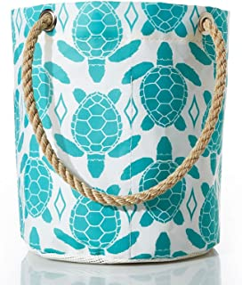 product image for Sea Bags Recycled Sail Cloth Aquamarine Sea Turtle Beachcomber Bucket Bag