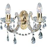 Searchlight 699-2 Marie Therese 2 Light Crystal Wall Light with Brass Trim