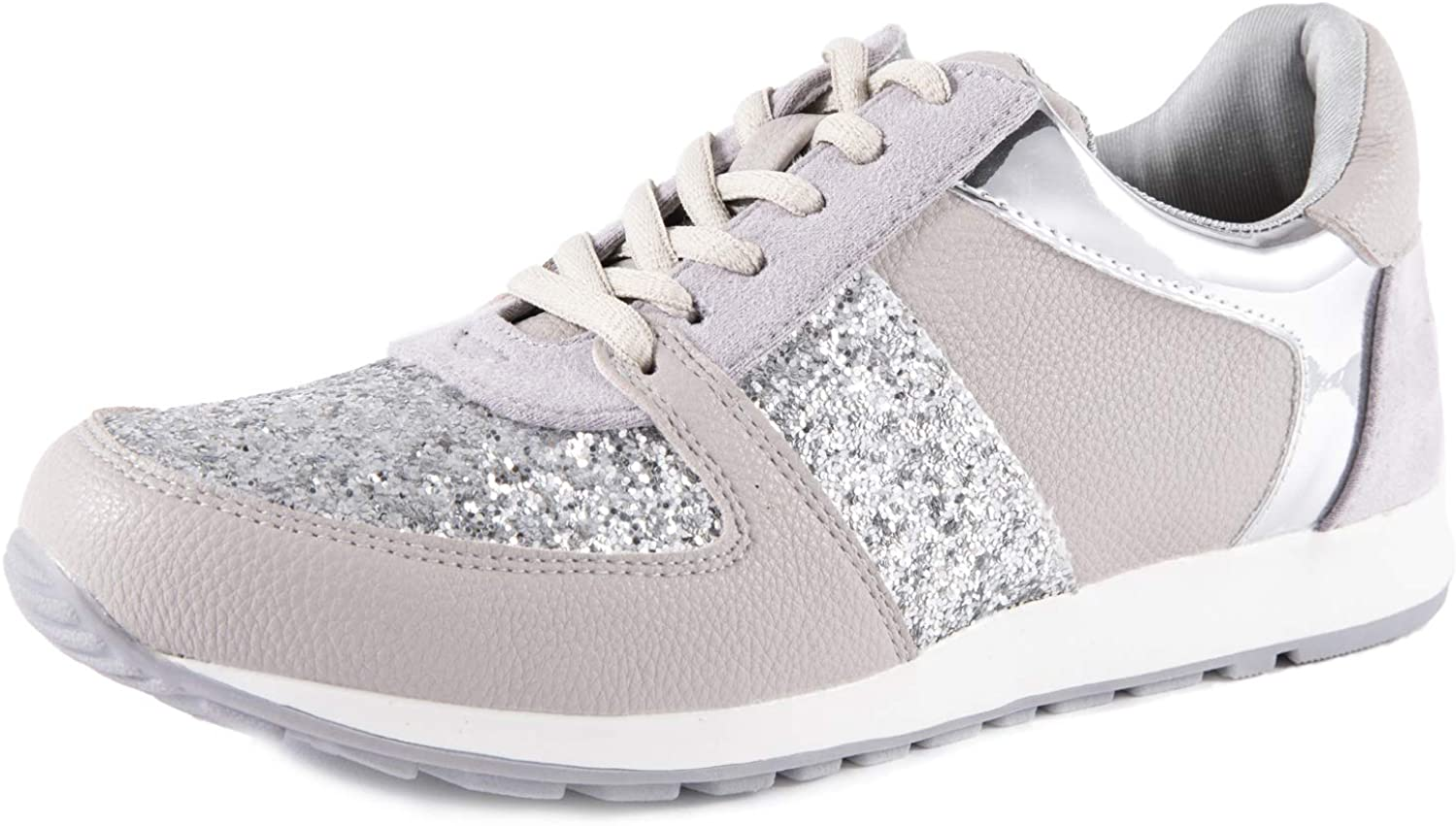 Feversole Women's Glitter Sneakers Fashion Bling Casual Shoes