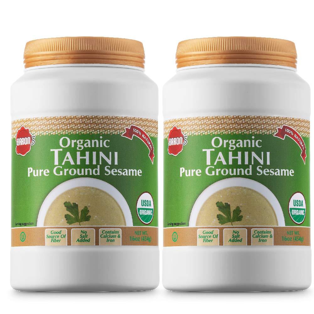Baron's USDA Organic Tahini Pure Sesame Paste   Rich & Creamy for Hummus, Baba Ghanoush & Dressings   Kosher, Vegan, Unsalted Ground Seeds   Gluten- & Peanut-Free, Keto-Friendly   2 Jars of 16 Oz.