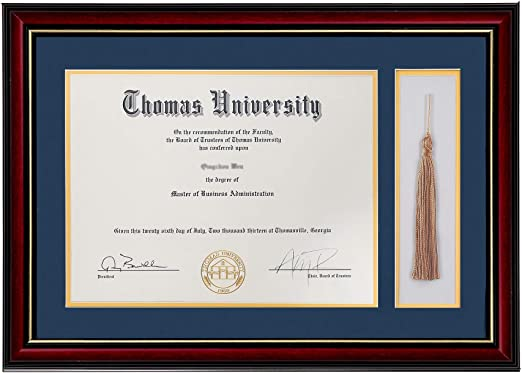 Diploma Photo Frame, for 8.5x11 Certificate  5x7 Picture Golden State Art