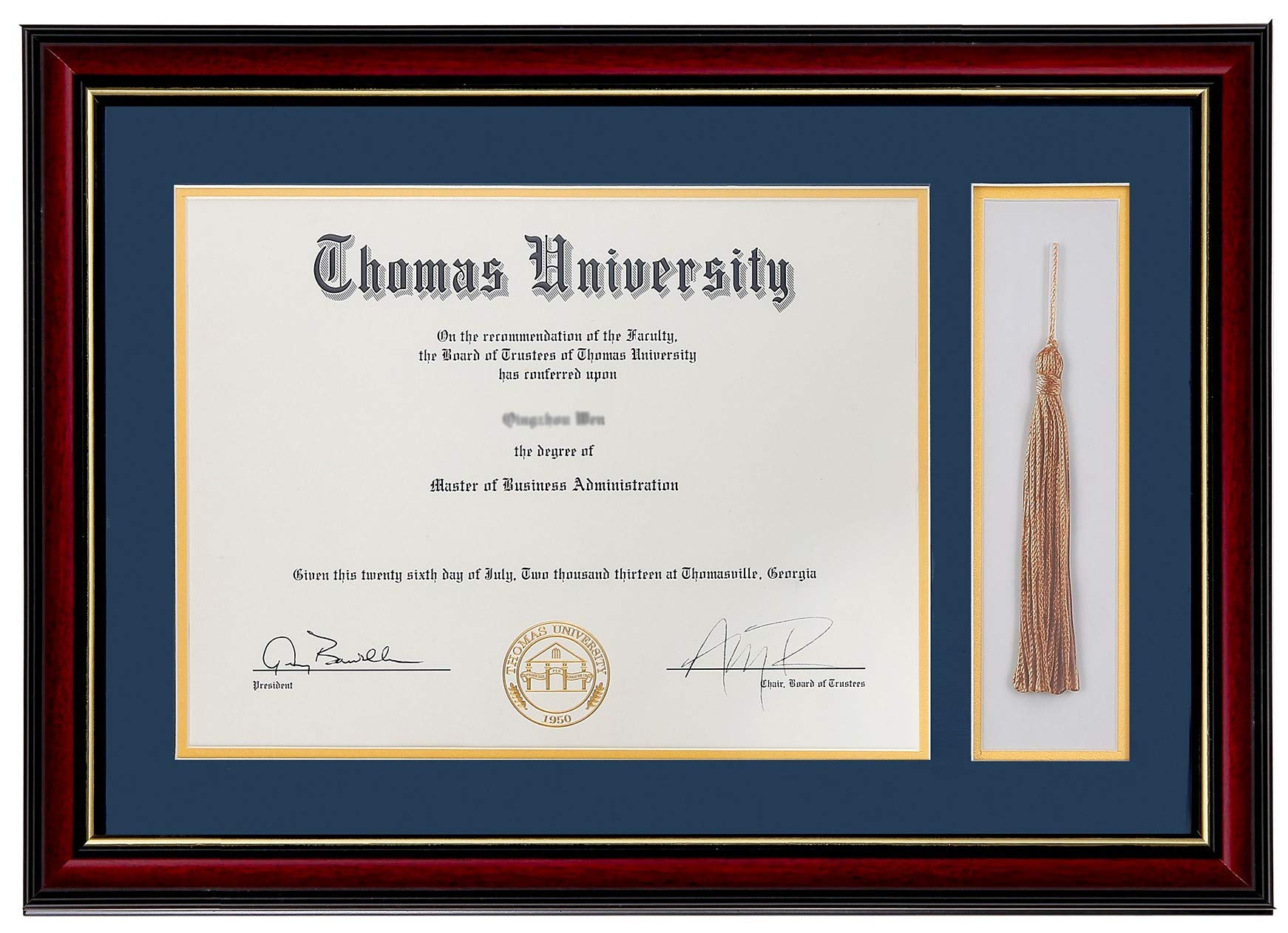 Flagship Diploma Frame with Tassel Shadow Box Real Wood & Glass Golden Rim 11x16 Frame for 8.5x11 Certificate and Document (Double Mat, Navy Blue Mat with Golden Rim) by Flagship Frames
