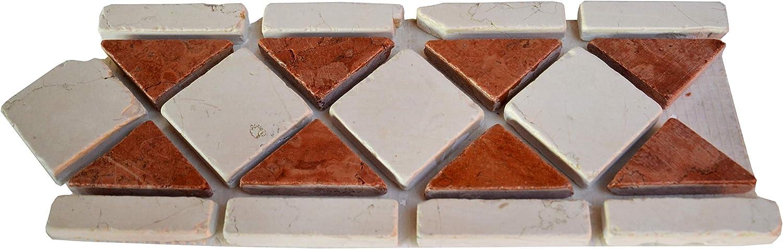 28x11x1 cm 10x Greca in Mosaico Montato su Rete in Rosso Verona e Bianco Perlino 10 Pezzi