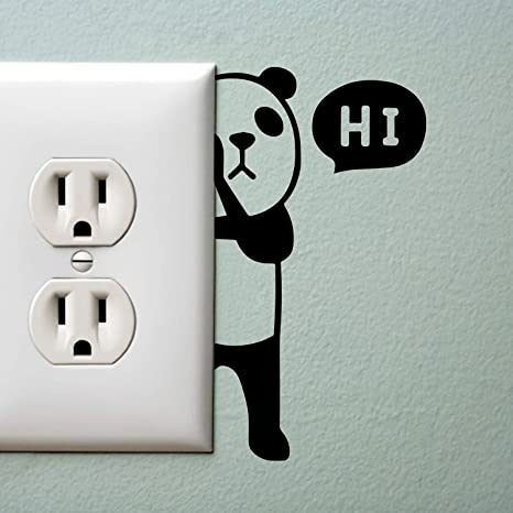 Amazoncom Kiskistonite Panda Bear With Hi Quote Wall Art Decal - Vinyl-decals-to-decorate-light-switches-and-outlets