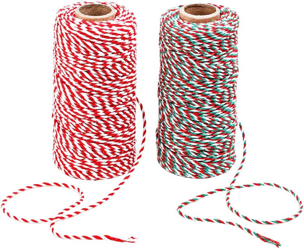 Benvo Christmas Twine 2-Pack Red White Green Cotton Twine and Red White Cotton String Rope Ribbon Cord for Holiday Gift Wrapping, Baking, Butchers, DIY Crafts, 656 Feet : Office Products