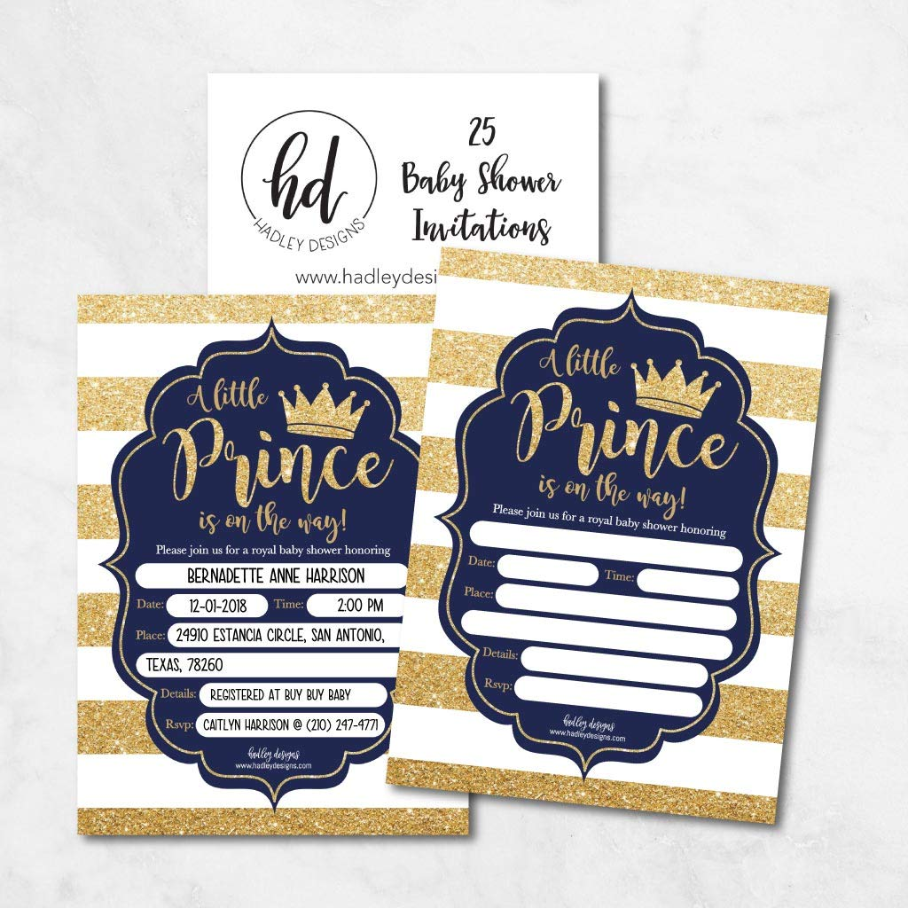 25 Little Prince Baby Shower Invitations, Navy & Gold Sprinkle Invite for Boy, Modern Gender Theme, Cute Printed Fill or Write in Blank Printable Card, Vintage Unique Coed Party Stock Paper Supplies by Hadley Designs (Image #1)