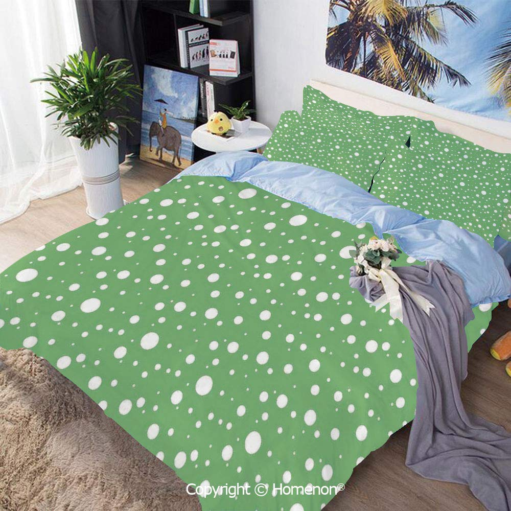 Bedding Sheets Set 3-Piece Bed Set,Painters Wall Inspired Big Rounds Spots on a Vivid Backdrop Modern Image,Queen Size,for Bedroom Guest Room,Fern Green and White