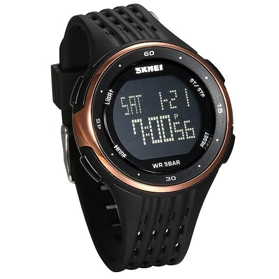 JewelryWe Reloj Digital Deportivo para Hombres, Tiempo Dual Multifunciones Dorado Reloj Grande, 5ATM Impermeable Relojes para Aire Libre, Regalo para Chicos ...