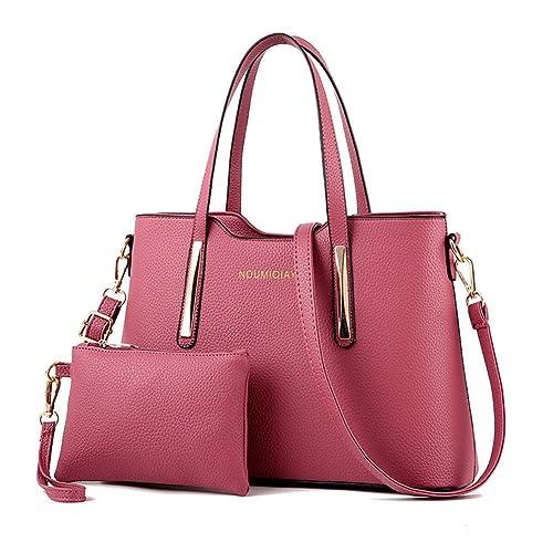 de4d2e631cd0 Amazon.com  LIZHIGU Womens Leather Shoulder Bag 2 Pieces Top-handle  Handbags Tote Purse Bags Set Pink  Shoes