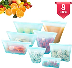 8 Pack Reusable Silicone Food Bag, BPA Free Leakproof Zip Lock Containers for Fruit/Snack/Vegetables, Microwave Dishwasher and Freezer Usable (Blue)