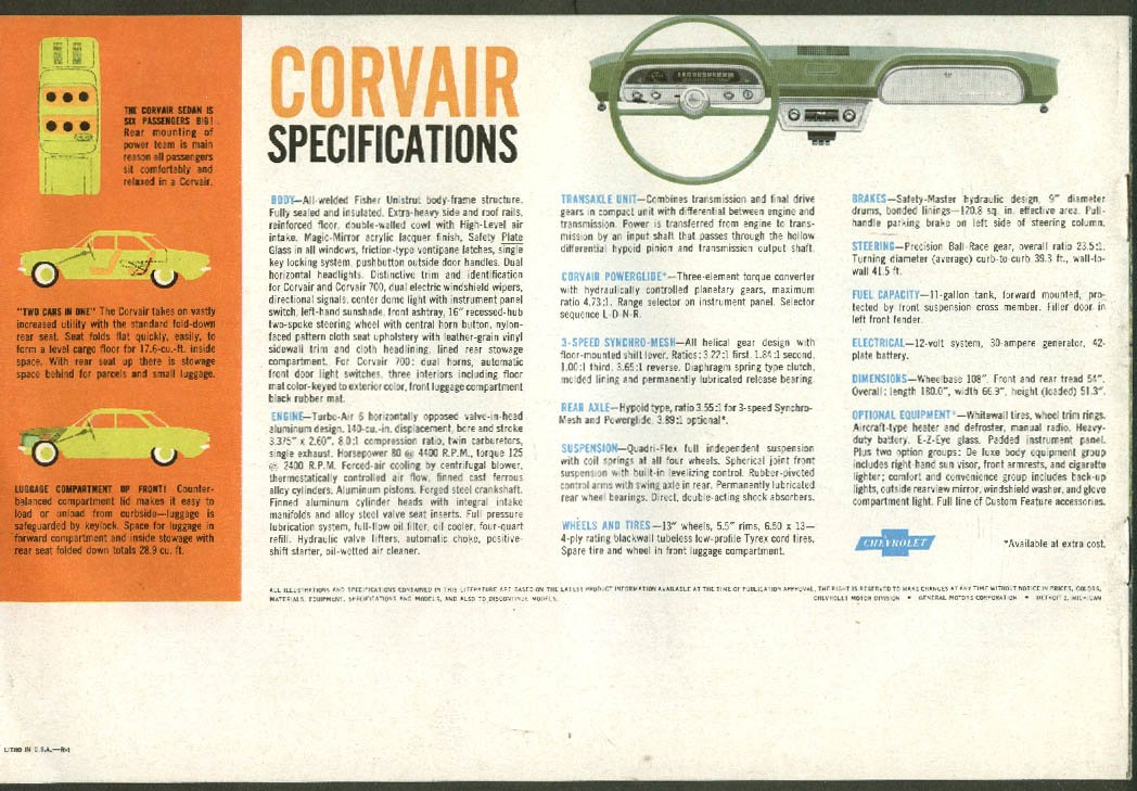 1960 Chevrolet Corvair sales brochure, revision 1 at Amazons Entertainment Collectibles Store